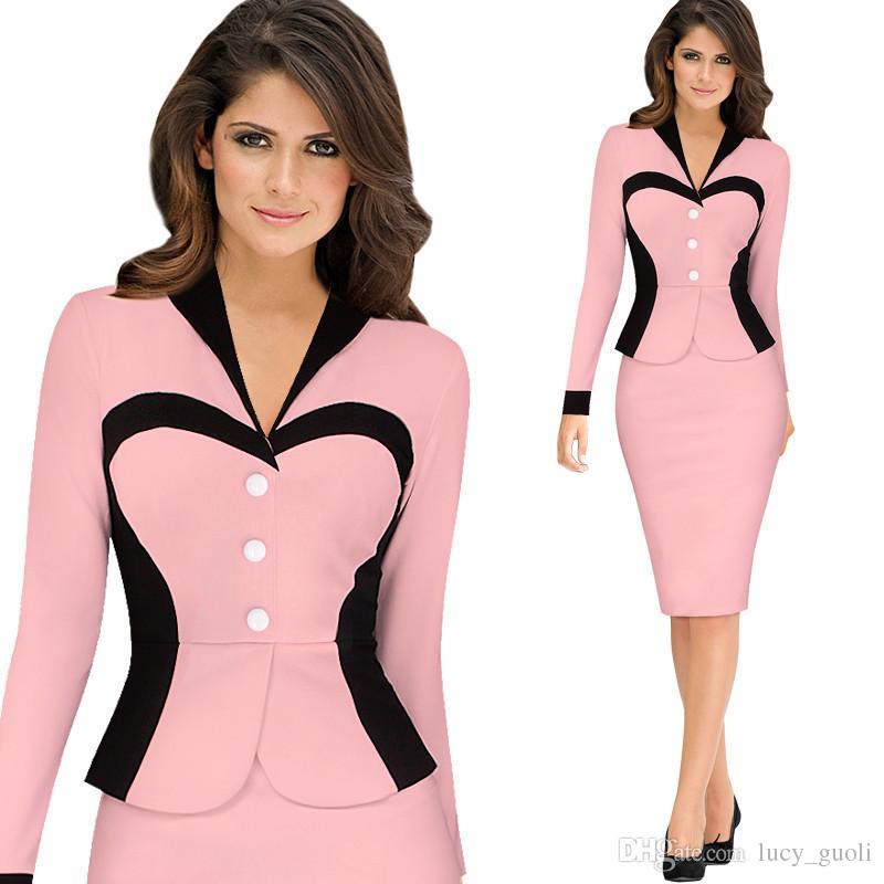2016 Women's Elegant Lapel Colorblock Optical Illusion Patchwork Long Sleeve Faux Twinset Wear to Work Office Sheath Bodycon Dress Plus size