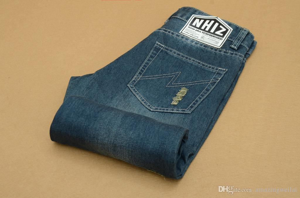 d40f7868 ... 2015 Men's Long Straight Ripped Jeans Vintage Hole Ripped Denim Pants  For Men and Teen Boys