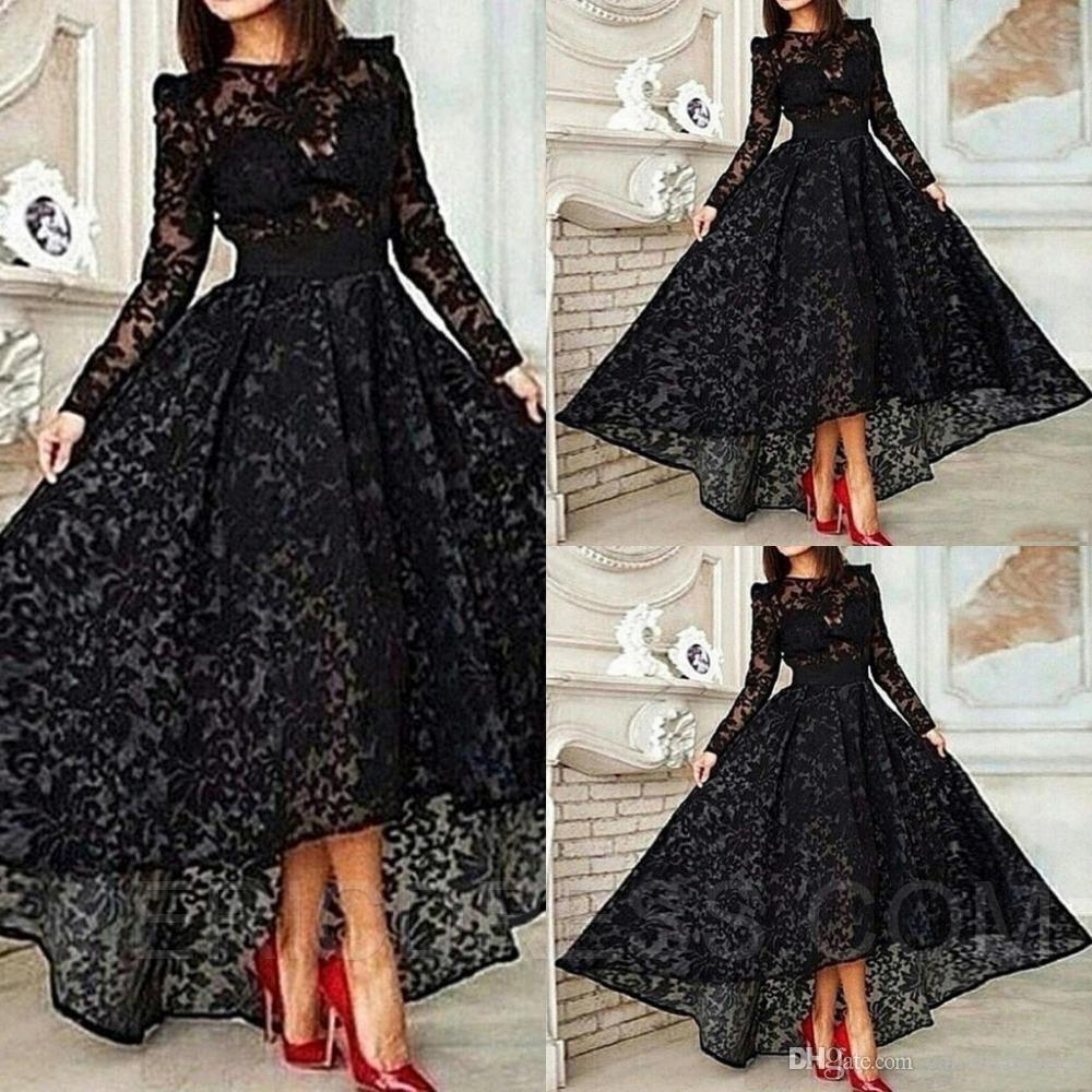 41f514e2f5 Ericdress Long Sleeve A Line Asymmetrical Length Lace Evening Dress Sheer  Empire Hi Lo Party Gown Special Occasion Dresses Evening Gown Long Evening  Dress ...