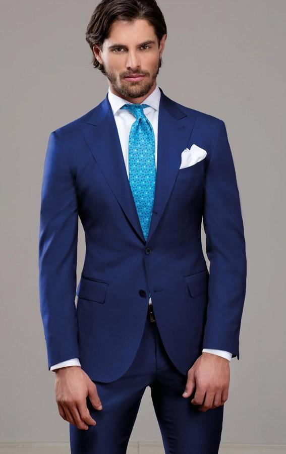 Custom Made Blue Color Slim Fit Dwa Przyciski Business Groom Tuxedo Proces Lapel Groomsmen 2021 Mężczyźni Garnitury ślubne