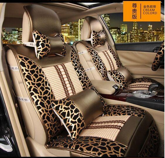 Sexy Leopard Print Four Seasons Car Seat Covers Set Golden Black Fashion Auto Front Rear Seats Cover Full Automotive