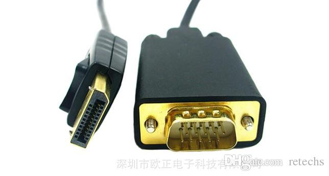 Hot New Displayport TO VGA cable DP TO VGA cable 1.8 m 1080p Adapter For Computer TV projector DRV DHL