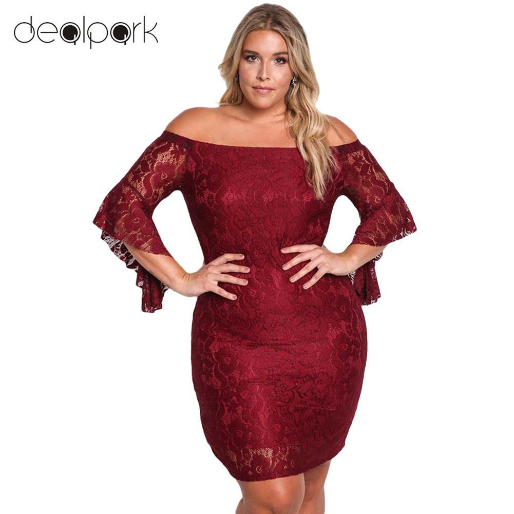 Autumn Sexy Women Lace Dress Plus Size Off Shoulder Bell Sleeve ...