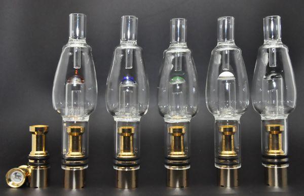E Cig Glass Ball Water Aqua Bubbler Gold Atomizer hookah shisha bong Tank 510 Thread Vaporizer Pen Dry Herb Wax
