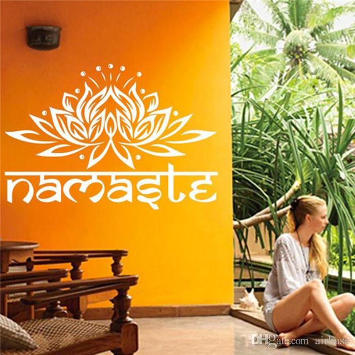 india namaste word religion wall stickers decal vinyl lotus yoga