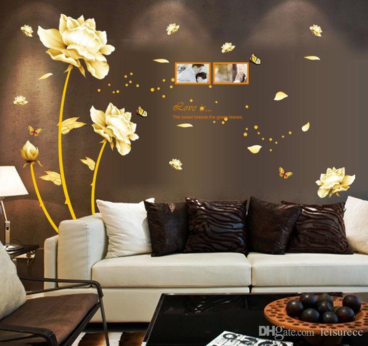 Wall Stickers Home Décor Tulip Wall Decals Golden Flowers Wall ...