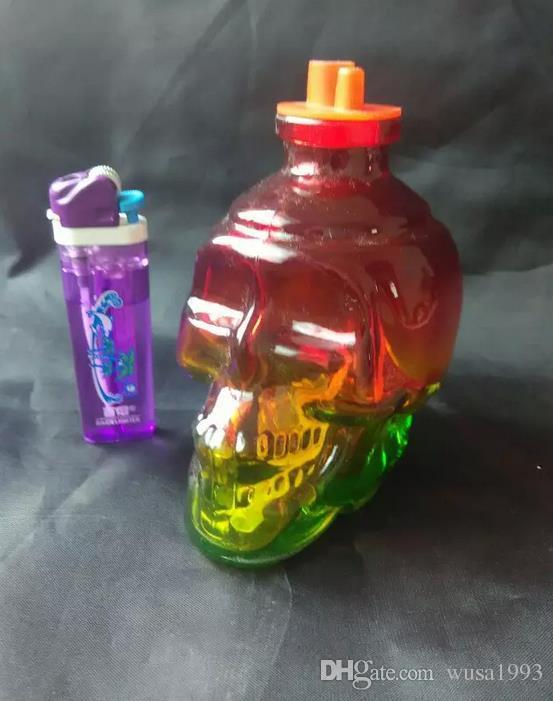 wholesalers ----- Colored glass glass skull bones Hookah / glass bong, Get a full set of accessories