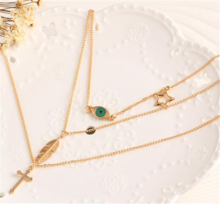 New arrival Fashion Eye Leaf +star Choker alloy Necklace Multilayer Metal Accessories Cross Clavicle Chain jewelry for women