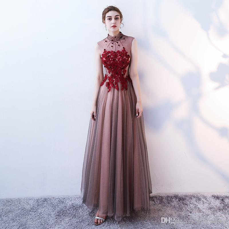Backless Lace Sexy 2017 Arabic Evening Dresses High Neck Beaded A-line Tulle Prom Dresses Stunning Elegant Formal Party Bridesmaid Gowns