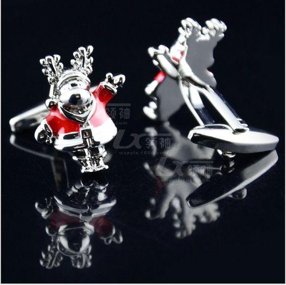 Boutons de manchette créatifs de Noël cerfs de noce mariage manchette lien cuivre boutons de manchette meilleur cadeau de noël de haute qualité W481
