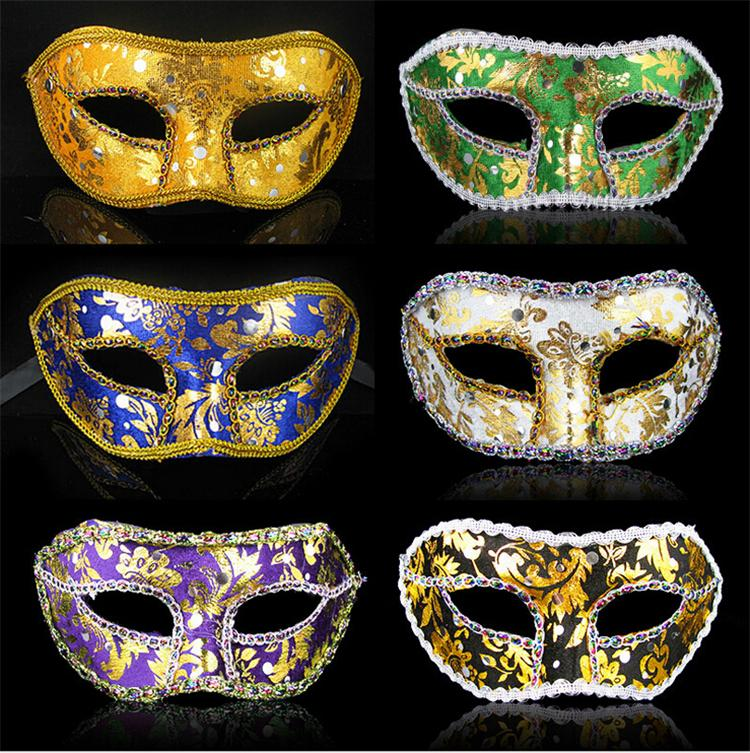 DHL Freies Verschiffen Half Gesichtsmaske Halloween Maskerade Maske Männlich, Venedig, Italien, Flathead Lace Helle Tuch Masken, Partymasken
