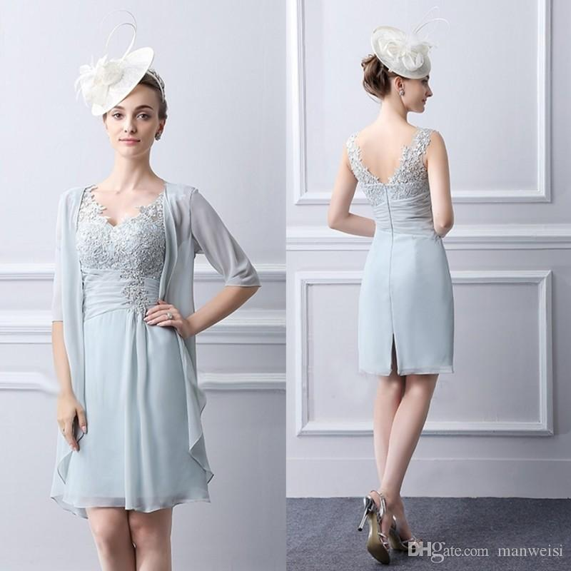 bfe05123b1f Knee Length Mother Of The Bride Dresses With Jacket V Neck Wedding Guest  Dress Lace Appliqued Light Blue Formal Evening Prom Gowns Mother Of The  Groom Dress ...