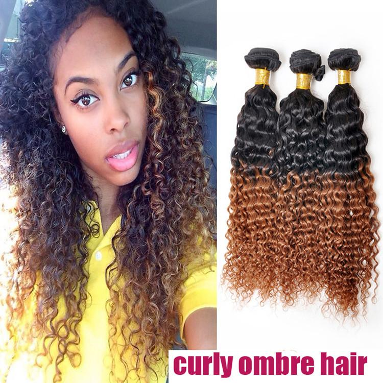 Kinky Curly Sew In Malaysian Ombre Hair Weftone Bundle Deal Soft