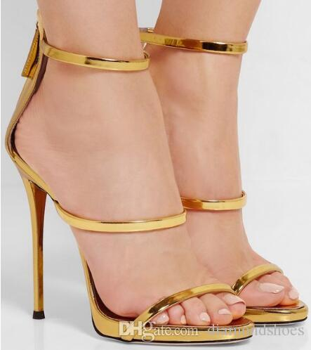 4a7d32fb0 Super Harmony Metallic Strappy Sandals Silver Gold Platform Gladiator High Heels  Shoes Party Summer Style Stilettos Shoes Woman Gold Wedges Red Wedges From  ...