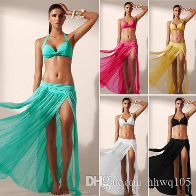 369705af68 Women's Sexy Gauze Beach Maxi Skirt Swimsuit Bikini Cover Up High Waist  Slits Solid Long Beach Dress Black White Red Green ZZNF0205