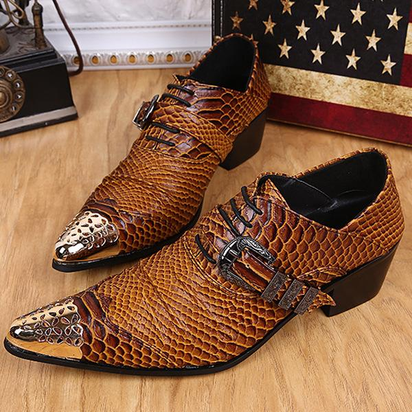 Men's Leather Loafers Buckles Buckle Wedding Dress Shoes Slip-On Flats With Red