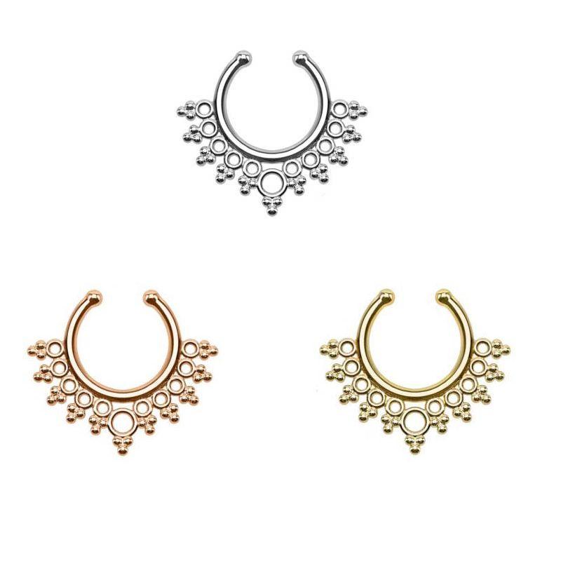 Unisex Punk 18k Gold Fake Piercing Septum silver Non piercing fake nose ring stud for Boho body Jewelry N0011