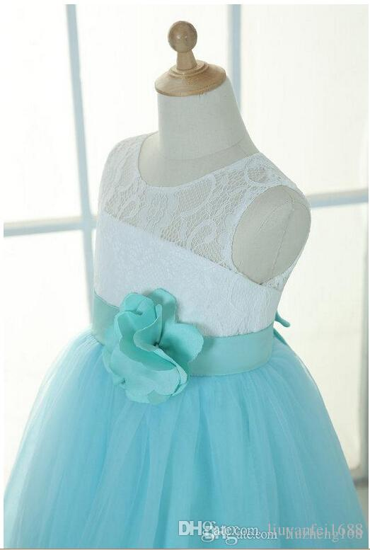 Ivory lace mint tulle keyhole flower girl dress tutu kids children junior bridesmaid dress with mint sash detachable for wedding