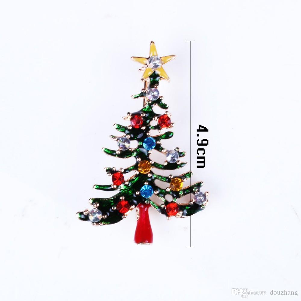 Fashion Trendy Hot Multicolour Rhinestone Enamel Delicacy Christmas Tree Brooch Pin Brooches Xmas Gifts Wholesale