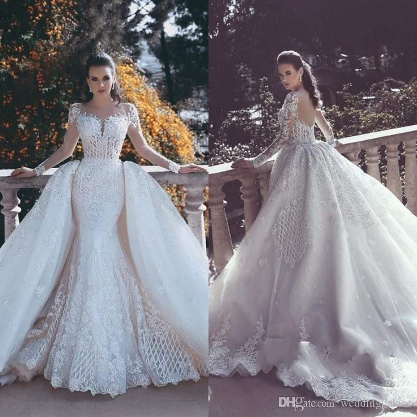 2018 Latest Scoop Neck Mermaid Wedding Dresses Lace Buttom Back Long ...