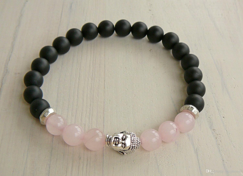 SN0239 Buddha Pulseira de Quartzo Rosa Pulseira de ônix preto Pedra natural Pulseira pulseira trecho Pulseira Moda Mulheres Pulseira de Yoga