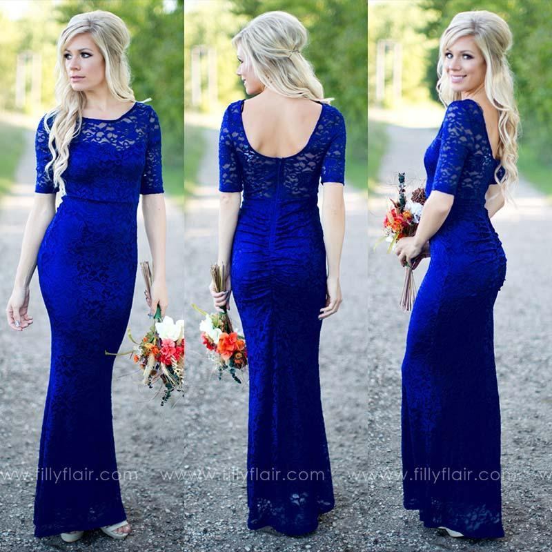 93bf224e59c Gorgeous Royal Blue Bridesmaid Dresses 2016 Filly Flair Mermaid Jewel Lace  Half Sleeve Long Maid Of Honor Prom Formal Gowns Custom Made Cotton  Bridesmaid ...