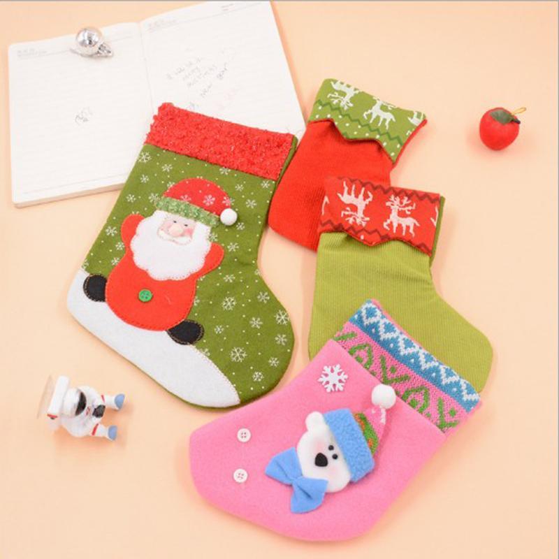 Amazing designs Christmas gift Christmas Stocking Socks Sacks Embroidery Santa Snowman Reindeer candy bag socks