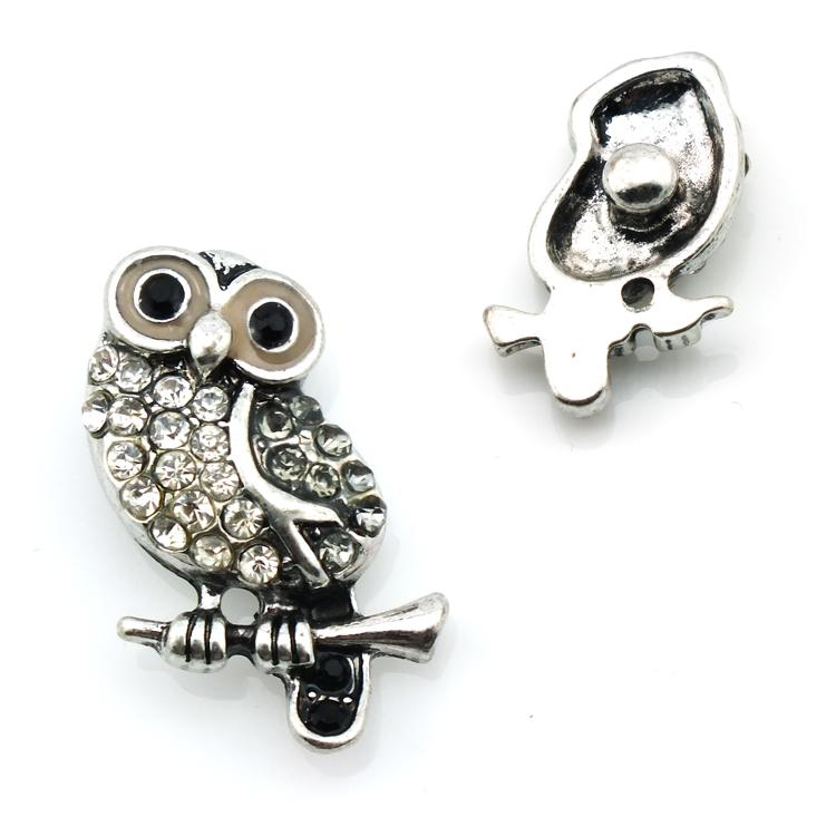 Brand New Fashion 18mm Snap Buttons Rhinestone Owl Metal DIY Interchangeable Noosa Button Jewelry Accessories
