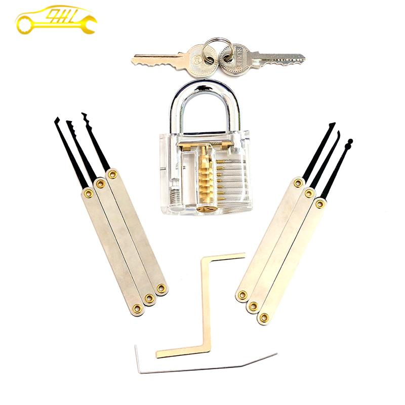 Wholesale Locksmith tools With Transparent Crystal Practice Padlock Set + 8 Pcs Manganese Lock Pick Set For Professional Locksmith