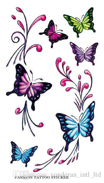 Women Sexy MakeupTattoos Chest Shoulder Temporary Tattoo Sticker Colorful Butterfly Design Body Art Waterproof Fake Tattoos
