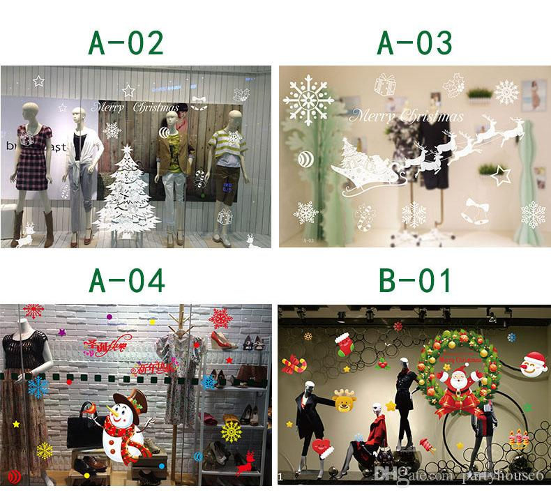 Christmas decorations wall stickers winter holiday decorations anti-static window stickers no glue glass stickers free shopping