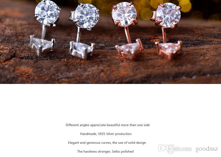 925 스털링 실버 귀걸이 패션 쥬얼리 양면 지르콘 다이아몬드 크리스탈 스터드 귀걸이 로즈 골드 화이트 여성 여성용 색