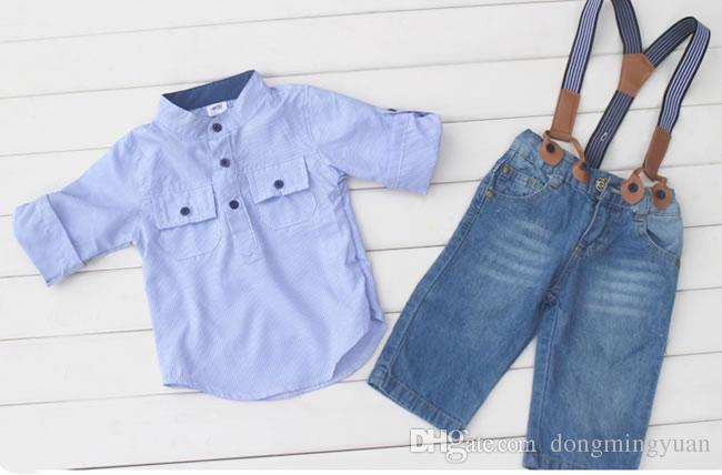 Summer Baby Boys Denim Sets Vêtements Chemises Casual à rayures bleues + jarretelles Shorts Jeans Pantalons Costumes Costume Vêtements pour enfants