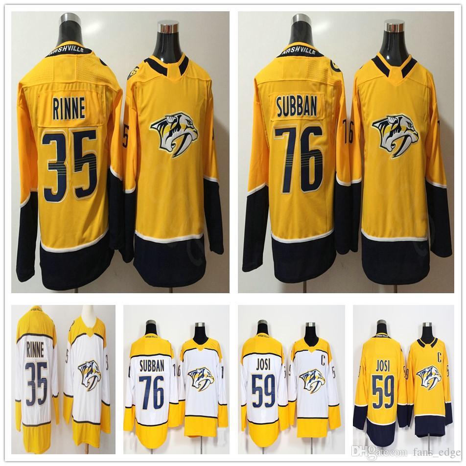 7092d78d8 2019 2018 New Nashville Predators Jerseys 35 Pekka Rinne 59 Roman Josi 76  P.K. Subban Hockey Men Women Kids Youth Yellow White Jersey From Pkjerseys