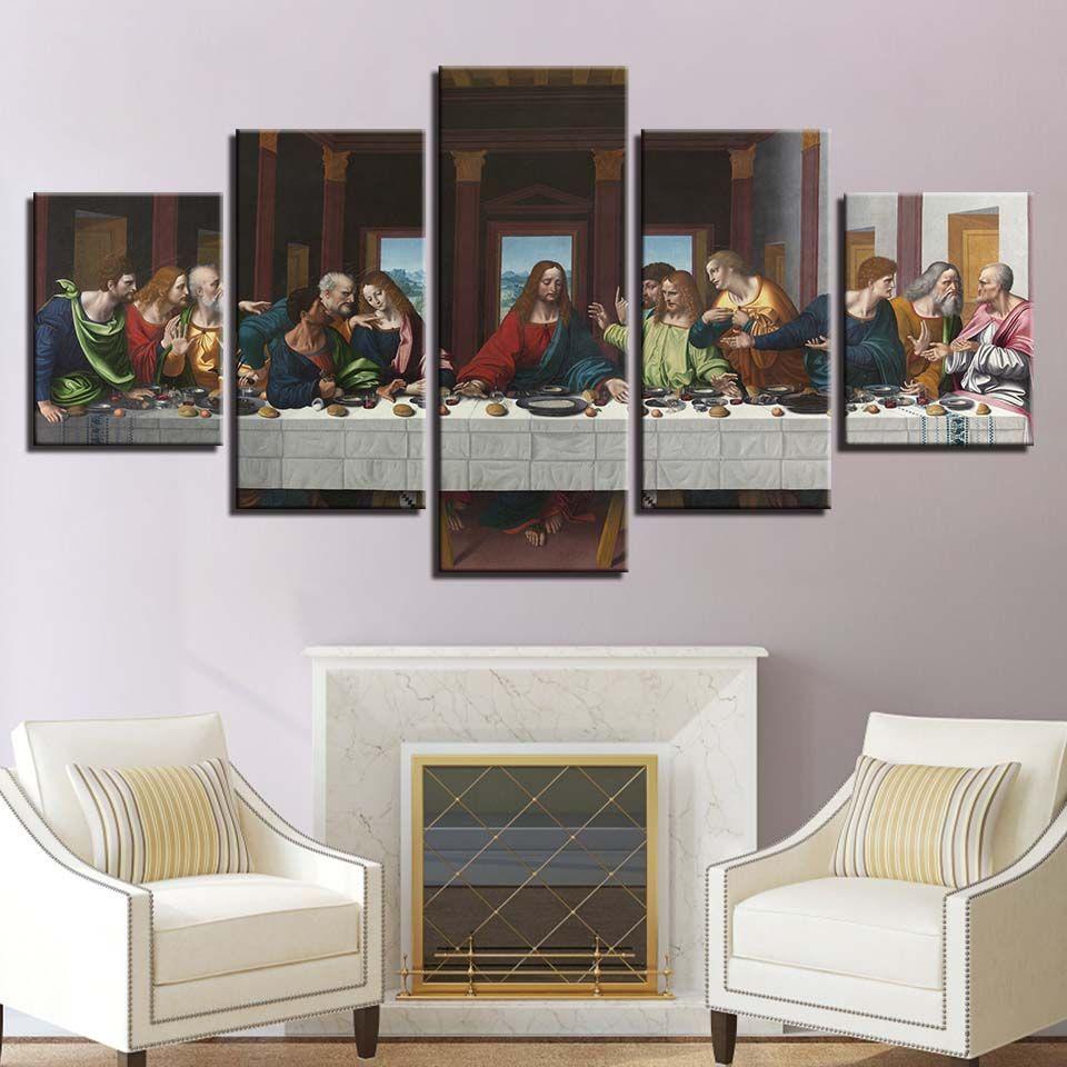 Multi Panel Print Last Supper Canvas Wall Art Upper Room Piece Christ Jesus