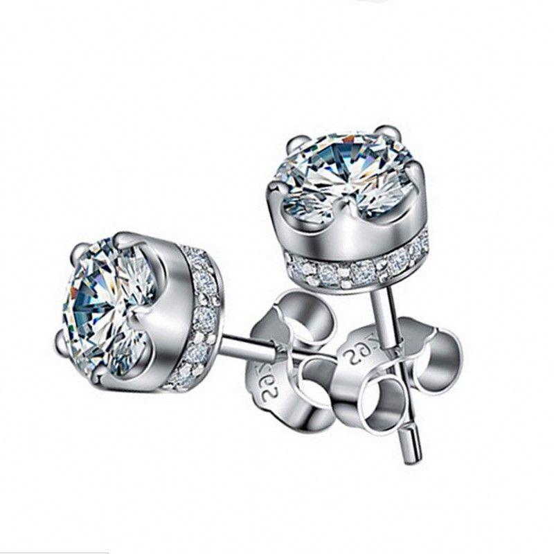 Vecalon escritório Lady Crown brincos de Jóias de Cristal 2ct 5A Cz 925 Partido Esterlina brincos de prata Do Casamento Do Parafuso Prisioneiro para as mulheres