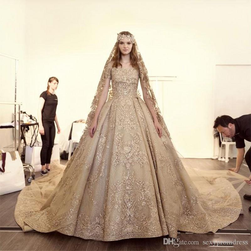Discount Luxury Gold Arabic Wedding Dresses 2018 Lace Appliques ...
