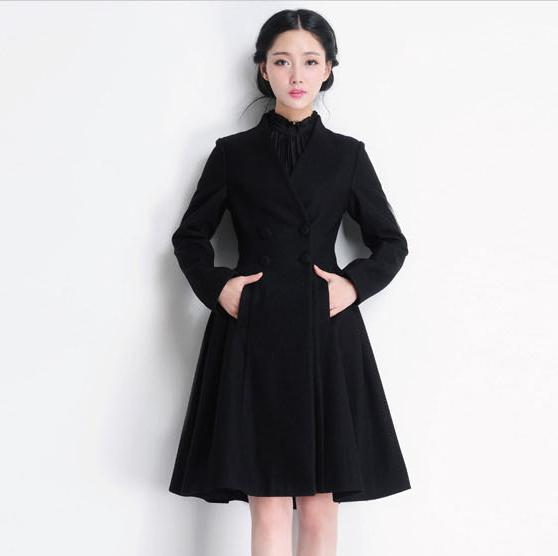 Long Black Dress Coat Womens | Down Coat