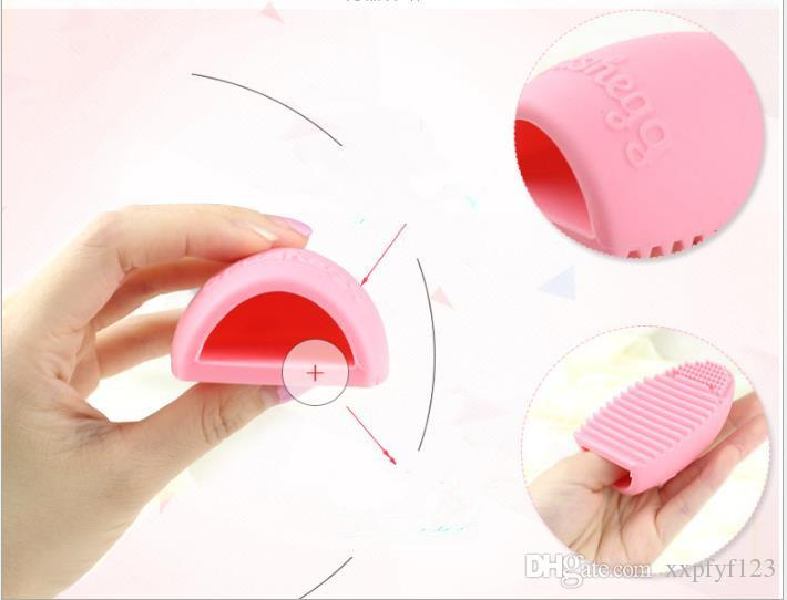 Schwämme Reinigung Handschuh Make up Waschbürstenwäsche Bord Kosmetische Pinselegg Makeup Pinsels Ei Clean Tool A73