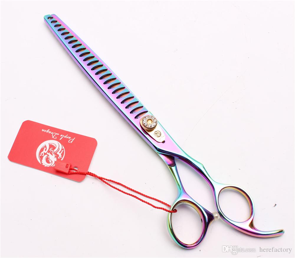 "8"" 22cm JP 440C Purple Dragon Professional Dogs Pets Hairdressing Shears Grooming Shears Thinning Scissors 24 Teeth Salon Style Tools Z4004"