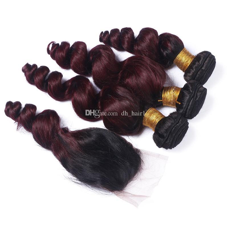 Paquetes de cabello de onda suelta negro a rojo vino con cierre de encaje 1B / 99J El cabello humano virgen brasileño de Borgoña teje con cierre superior