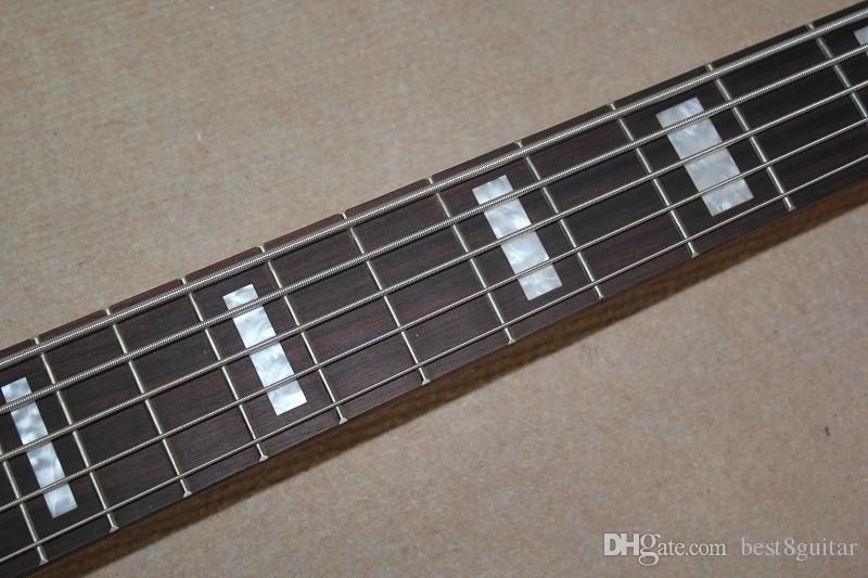 2015 chegada nova qualidade superior natureza madeira fosco maçante polonês todo o pescoço de bordo através do corpo W 5 cordas baixo elétrico guitarra