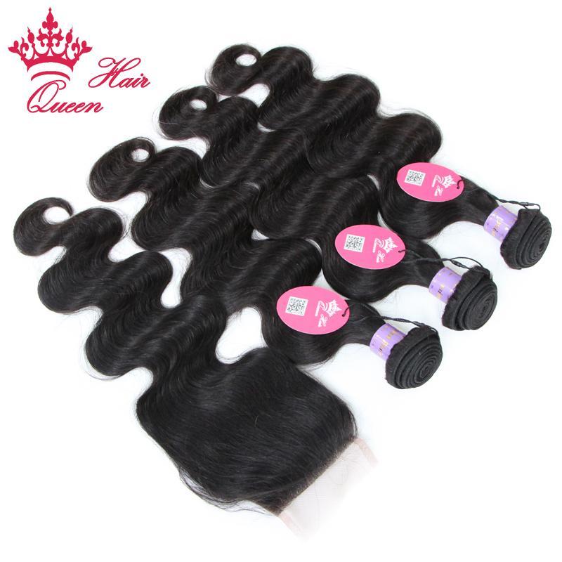 Rainha Do Cabelo de Alta qualidade 4 pçs / lote Cor Natural # 1B onda do corpo Malaio tecer cabelo virgem, Bundle + Lace Encerramento