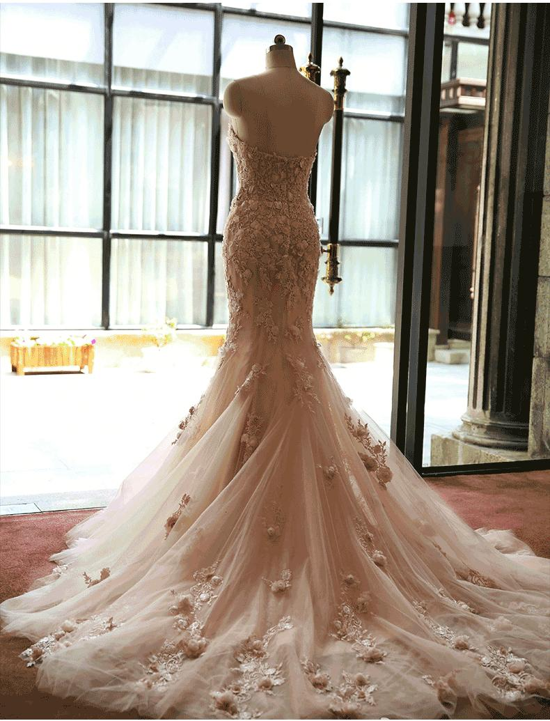 Blush illusion wedding dresses real photo court train for Www dhgate com wedding dresses