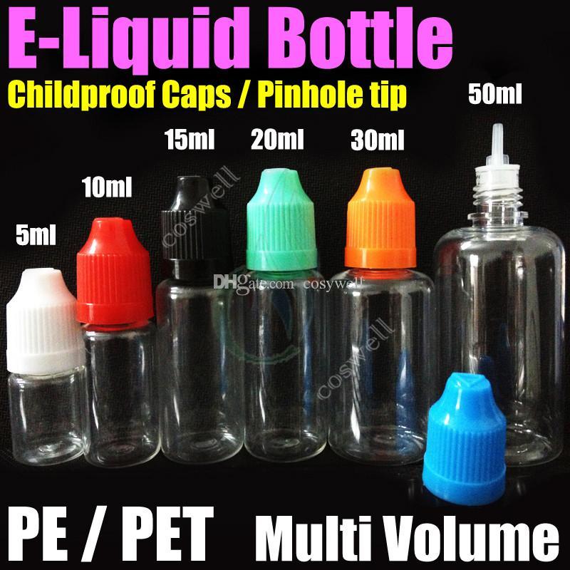 Hochwertige PE / PET-Flasche 5 ml 10 ml 15 ml 20 ml 30 ml 50 ml Leere Flasche Kunststofftropfen Lochblende Leere kindersichere Kappe E Flüssige Ölflaschen