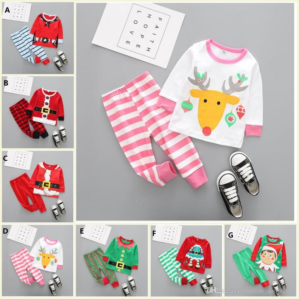 Kids Boy Girl Christmas Pajama Set Long Sleeve Tops Striped Pant Nightwear Toddler Baby Boys Girls Clothes