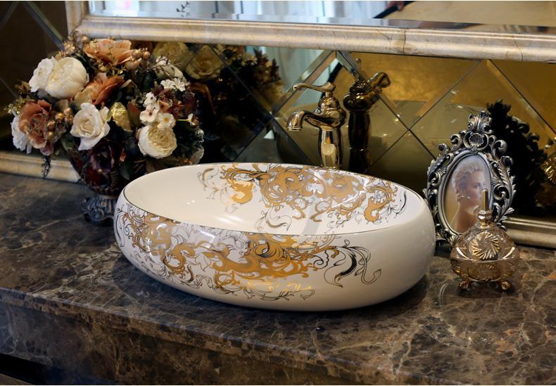 الحمام متفوقة السيراميك مكافحة الأعلى بالوعة البيضاوي حوض غسيل الخزف رسمت باليد مرحاض الفن السفن المصارف jy-002