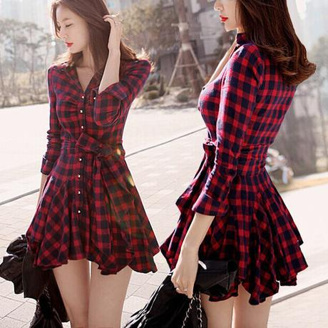 Red skater dress with sleeves and white collar patterns