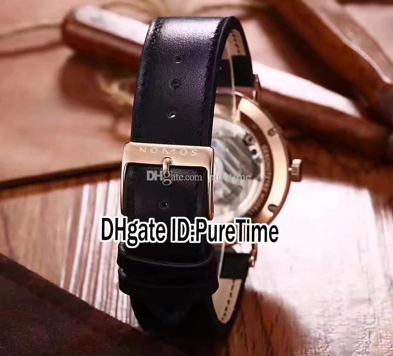 Nuevo NOMOS Glashutte Geschutztes Modell Tangomat Automático Rosa Dorado Bisel Azul Dial Fecha Reloj Hombre Relojes de cuero es Puretime NM07c