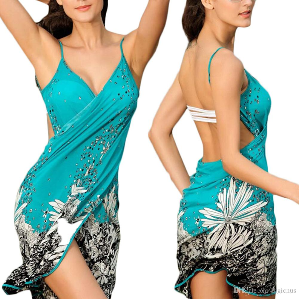 S5q Women Sexy Summer Bikini V Neck Swimwear Cover Up Sarong Wrap ...